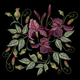 Embroidery irises. Beautiful spring purple irises against black background - 142314903