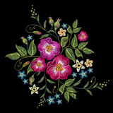 Embroidery wild roses, dogrose flowers. Classic style embroidery - 142314911