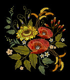 Embroidery sunflowers, roses, flowers, wheat. Beautiful bouquet embroidery template for clothes - 142314926