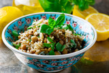Rice, Lentil and Chickpea Salad with Herbs. - 142316791