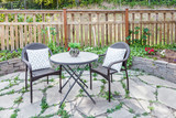 black metal bistro set on patio - 142317133