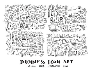 Business arrow bubble set sketch vector ink doodles eps10