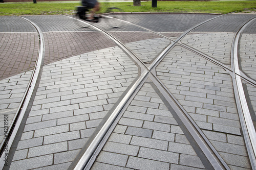 Poster Tram Track and Cyclist in Rotterdam