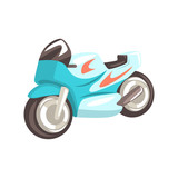 Blue Sportive Motorcycle, Racing Related Objects Part Of Racer Attribute Illustration Set