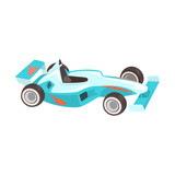 Blue Sportive Formula One Car, Racing Related Objects Part Of Racer Attribute Illustration Set