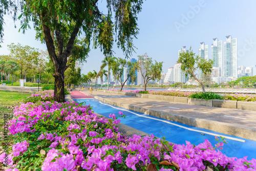 Poster Cityscape of Benchakitti park , green lung of Bangkok ,Thailand