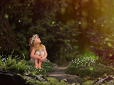 Fototapety Magic fairy forest. A small child watching fireflies. A fairy tale for children