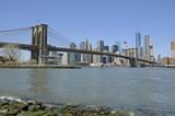 Panoramic view of Manhattan skyline from Brooklyn Bridge, New York City