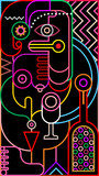 Abstract portrait of a woman neon colors