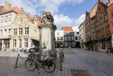 Architecture of narrow bicked street of Brugge town in Begium
