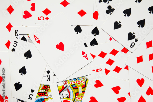 Poster Poker card background with four kind of spade, heart, club, diamond