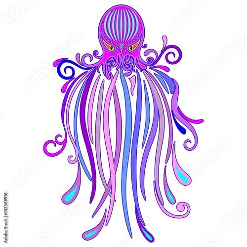 Deurstickers Draw Octopus Tattoo Style