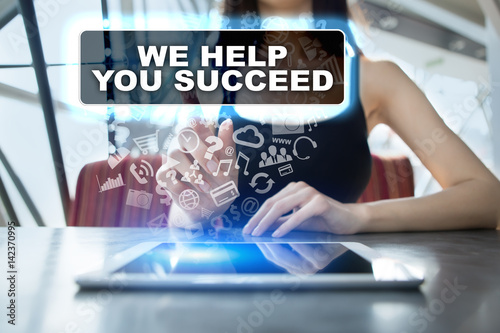 Poster Woman using tablet pc and selecting we help you succeed.