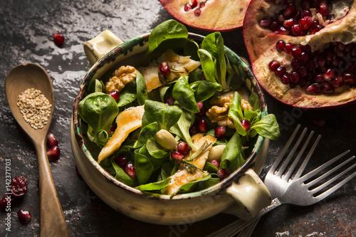 fresh chicken salad with pomegranate