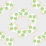 messy white eggs with green leaf motif, vector Easter seamless pattern with egg wreath on light dotted background