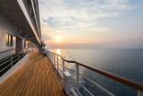 Luxury Cruise Ship Deck at Sunset. - 142381700