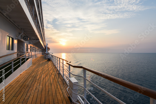 Luxury Cruise Ship Deck at Sunset. Poster