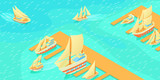 Yachts pier horizontal banner, cartoon style