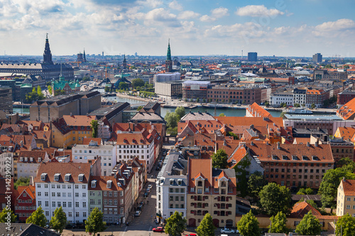 Foto op Aluminium Oude gebouw Aerial view of Copenhagen red roofs and canal. Christianshavn and central distrinct