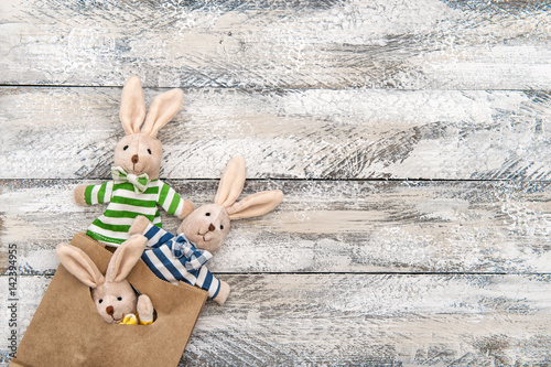 Easter decoration bunnies gift bag wooden background Poster