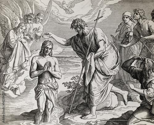 chrzest-jezusa-chrystusa-autorstwa-jana-chrzciciela-graficzny-kolaz-z-grawerowania-nazarenskiej-szkoly-opublikowany-w-biblii-swietej-wydawnictwo-st-vojtech-trnava-slowacja-1937