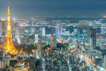 TOKYO - MAY 20, 2016: Tokyo aerial night skyline from Asakusa. The city attracts 15 million visitors every year
