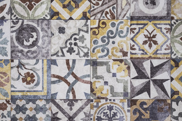 Colorful Moroccan tiles, ornaments, mosaic floor texture