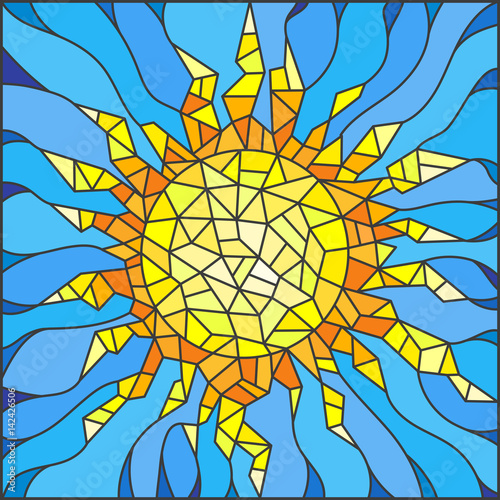 illustration-in-the-style-of-a-stained-glass-window-abstract-sun
