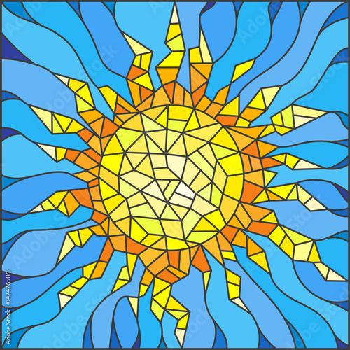 ilustracja-w-stylu-witrazu-okno-abstrakcyjne-slonce