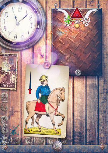 Staande foto Imagination Collage background whit toy paper,stamp and clock
