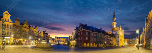 Main square of the old town of Poznan, Poland,Night panorama of old town.