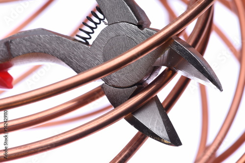 Copper wire and cutting tool close up Poster