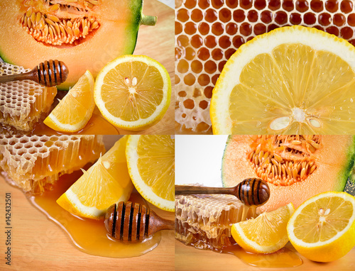 honey with lemons and melon on wooden table. Poster