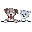 Cartoon Dog Cat Animal Frame - 142433321