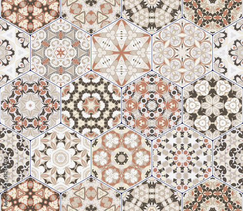 Vector set of hexagonal patterns. - 142439376