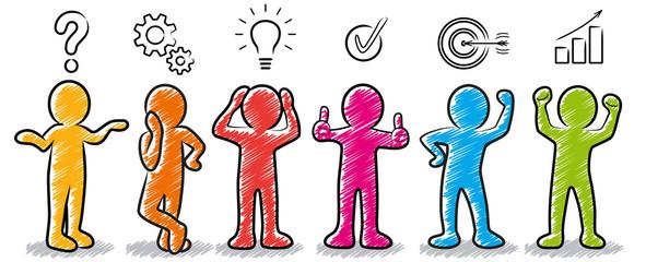 Farbige Strichmännchen: Problemlösung / Planungskonzept / Lösungskonzept