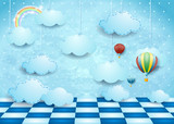 Surreal landscape with hanging clouds, balloons and floor