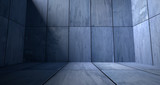Blue Concrete Room with Shadow - 142455960