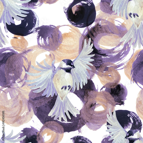 Abstract watercolor golden and purple circles with birds - 142456588