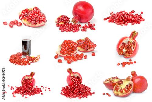 Set of pomegranates isolated on a white background cutout