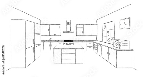 Sketch Hand Drawing Kitchen Interior Plan With Island Vector