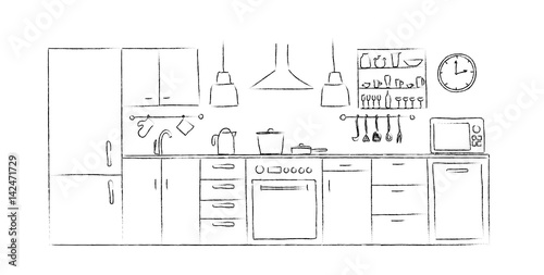 Kitchen Interior Sketches Hand Drawing Front View Contour Vector