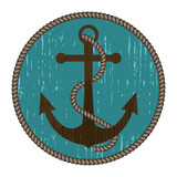 Nautical anchor with rope in vintage style. Round turquoise background. Vector