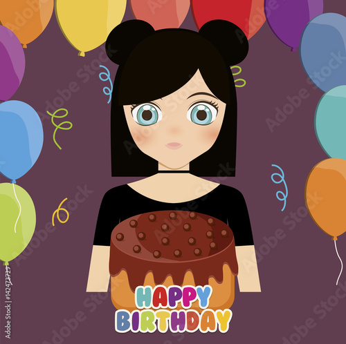happy birthday card with anime girl and cake. colorful design. vector illustration - 142473729
