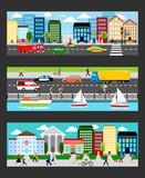 Fototapety Modern cityscape set in industrial megapolis banners vector illustration