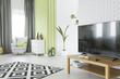 Tv room with 3d wallpaper - 142479944