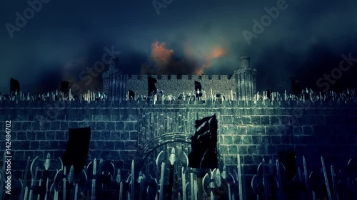 Foto op Plexiglas Draken Great Medieval Army Marching in a Burning Castle Under a Lightning Storm