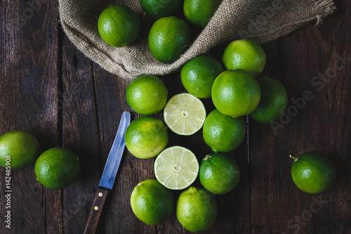 Green Lemons on the old wood