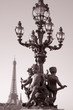 Figure on Pont Alexandre III Bridge with the Eiffle Tower in the Background; Paris; France