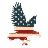 Eagle silhouette on the usa flag background. Design element for poster, postcard. Vector illustration. - 142487321